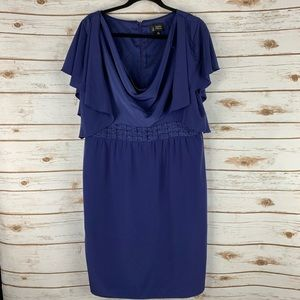 Adrianna Papell Blue Dress Size 14 Cowl Neck blue